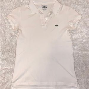 White Lacoste Collared Shirt